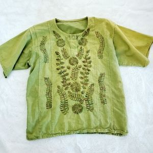 Linen boho ombre embroided smock top